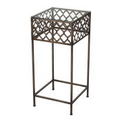 Sofaweb.com Antique Bronze Finish Large Metal Accent Table with Glass Top