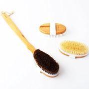 Bamboo Bath Brush Set 3 in 1 Detachable Body Brush Back Scrubber for Men & Women Exfoliating and Cellulite Reducing