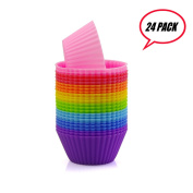 Prefer Green Reusable and Non-stick Silicone Baking Cups / Cupcake Liners/Muffins Cup Moulds in storage Container-24 Pack