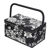 D & D Vintage Sewing Basket with Sewing Kit Accessories, Classic Floral Pattern Print Fabric Covered Sewing Notions Tool Storage Box Craft Supplies Organisation, 10.8 by 17cm by 14cm