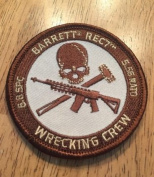 BARRETT REC7 WRECKING CREW PATCH SHOOTING GUN 5OBMG AR15 TACTICAL RIFLE hook and loop PATCH