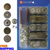 20 mm No-Sew Multi Colour 50 Jean Tack Buttons w/Tool