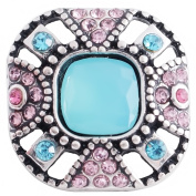 Lovmoment Snaps 20MM Square Snap Antique Silver Plated with Colourful Rhinestones Interchangeable Jewellery Snaps