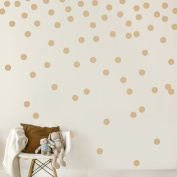 Light Brown Wall Decal Dots (200 Decals) | Easy Peel & Stick + Safe on Walls Paint | Removable Matte Vinyl Polka Dot Decor | Round Circle Art Glitter Sayings Sticker Large Paper Sheet Set Nursery Room