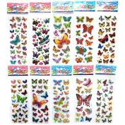 10 Sheets Colorful Butterflies Scrapbooking Bubble Puffy Stickers Kids Toys