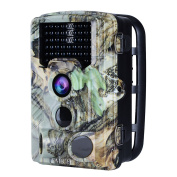 AUCEE Tracker Trail Camera, 16MP 1080P 120° PIR Sensor Wildlife Hunting Camera 20m No Glow Infrared Scouting Camera with Night Vision 46pcs IR LEDs, IP56 Waterproof 0.2s Trigger Time Game Camera