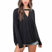 Coohole Women's Choker Neck V Neck Loose Casual Long Sleeve Tops Blouse Shirt Blouse