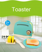 Kids Baby Breakfast Pretend Role Play Wooden Kitchen Toaster Toys Child Development Toy with Milk /Bread/ Butter