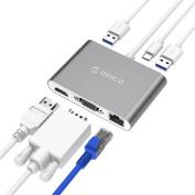 Orico Aluminum Alloy Two Way Power Delivery Type-C USB Hub 1x VGA, 1x HDMI, 2x USB 3.0, 1x Gigabit