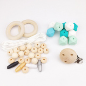Baby Love Home DIY Crafts Necklace Bracelet Baby Teether Sensory Toys Undone Silicone Beads Wood Ring and Beads Segment Double Buckle Soother Clips Random Creative Production
