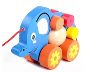 Infant & Toddler-Pull-along Elephant Car Wooden Pull Toy