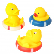 Set of 3 6.6cm Yellow Ducks Rubber Bath Toys Pure Natural Cute Rubber Ducky with Hats for Baby