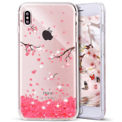 iPhone X Case, PHEZEN iPhone X TPU Case Luxury Bling Diamond Crystal Clear Soft TPU Silicone Back Cover with Cute Pattern for 15cm iPhone X, Cherry blossoms