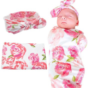 Baby Receiving Blankets Wrap Set with Headband, Newborn Baby Swaddle Blankets