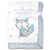 Wendy Bellissimo Super Soft Plush Baby Blanket - Cute Fox Baby Blanket from the Savannah Collection in White & Grey.