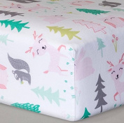 Fitted Baby Crib Sheet Forest Woodland Animals Pink