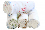Organic Cotton Swaddle Blankets - 2 Pack - For Girl or Boy - Neutral Colours - Ideal Babyshower Gift