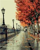 Diy Oil Painting, paint by number kit- Romantic love autumn 16*50cm .