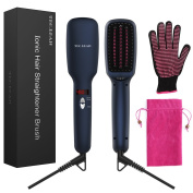Ionic Hair Straightener Brush for Silky Frizz Free Hair, Anti-Scald Ceramic Straightener Comb Ionic Hair Brush for All Hair Types with Heat Resistant Glove