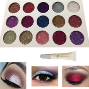 Glitter Eye Shadow Palette by Glitterize and e.l.f Glitter Primer | 15 High Pigment Metallic Shimmer Colours | Mineral Cosmetic Makeup Eyeshadow | Unicorn Mermaid Make-up