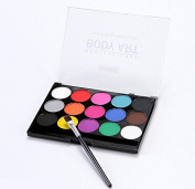 Face Body Paints Kits Professional Make Up Palette-Safe & Non-Toxic, Ideal for Halloween Party Face Painting - Easy to Wear and Remove-15 Colours with One Fine Brush
