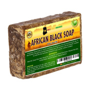 African Black Soap, All Natural Hair Shampoo, Ash Shea Butter Cleanser Bar for Acne-Free Skin, Body Acne & Eczema, 2.3kg Bar by Gold Coast Organics