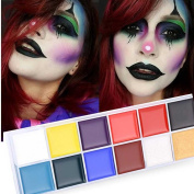 Snowfoller Halloween Face Makeup 12 Colour Body Painted Oil Colour Drama Clown Cosplay Make Up