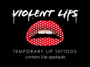 Violent Lips RED HEARTS - Lot of (3) Packages of 3 Lip Tattoo Appliques Each, Total of 9 Appliques in RED HEARTS