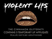 Violent Lips CINNAMON GLITTERATI - Lot of (3) Packages of 3 Lip Tattoo Appliques Each, Total of 9 Appliques in CINNAMON GLITTERATI