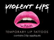 Violent Lips PINK KISS - Lot of (3) Packages of 3 Lip Tattoo Appliques Each, Total of 9 Appliques in PINK KISS