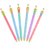 MOACC Set of 6 Princess Crown Premium Gel Ink Pen Lovely Cute Colourful Polka Dots Korean Style Rollerball Roller Ball Pen Fine Point Creative Stationery for Artist School Office Family Use, Black Ink