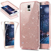 Galaxy S5 Case,ikasus [Full-Body 360 Coverage Protective] Crystal Clear 2in1 Sparkly Shiny Bling Glitter Front Back Full Coverage Soft Clear TPU Silicone Rubber Case for Samsung Galaxy S5,Rose Gold