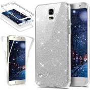 Galaxy S5 Case,ikasus [Full-Body 360 Coverage Protective] Crystal Clear Ultra-Slim Sparkly Shiny Bling Glitter Front Back Full Coverage Soft Clear TPU Silicone Rubber Case Cover for Galaxy S5,Silver