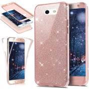 Galaxy J7 V Case,J7 Perx Case,J7 Sky Pro Case,ikasus [Full-Body Coverage Protective] Sparkly Shiny Bling Glitter Front Back Full Coverage Soft Clear TPU Silicone Case for Galaxy J7 2017,Rose Gold