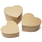 Factory Direct Craft Handcrafted Paper Mache Large Heart Boxes - 3 Boxes