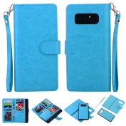 Galaxy Note 8 Case, Ranyi [Detachable Separable Wallet] [9 Card Slot/Holder] [Magnetic Hard Back Cover] Luxury Flip Folio PU Leather Wallet Protective Case for Samsung Galaxy Note 8 (2017), blue