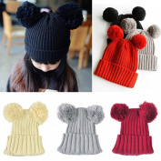 Toddler Winter Warm Hat,Sunbona Childres Baby Girls Cute Ball Cap Winter Warm Knitted Woollen Hemming Cap