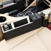 MEGOOD Multi-function PU Leather Vehicle Storage Box,Car Passenger Seat Travel Caddy Gap Filler with USB Charging Socket