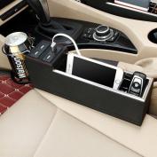 MEGOOD Multi-function PU Leather Vehicle Storage Box,Car Main Cab Seat Travel Caddy Gap Filler with USB Charging Socket
