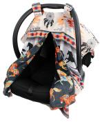 Dear Baby Gear Deluxe Reversible Car Seat Canopy, Custom Minky Print, Southwestern Tribal Horses