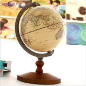 Miss.AJ1pcs/ Pedestal English Edition Wooden Vintage World Globe Ornaments Geography Navigation Map Globe figurines Home Decorative