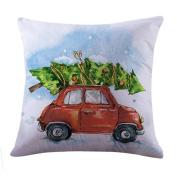 ✿Moseâ . !Merry Christmas Christmas Square Soft Linen Sofa Home Decor Pillow Cases Cover