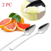 Inverlee 2PCS Thick Stainless Steel Serrated Edge Grapefruit Spoon Dessert Spoon