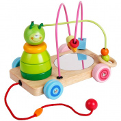 Wooden Rolling Bead Maze Toy Pull Along car Roller Coaster String Toddler - Rolls Easy for baby Kids Early Education