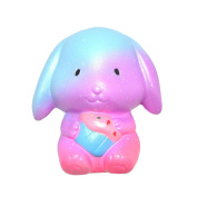 Glorrt 10cm Galaxy Bunny Cream Scented Squishy Slow Rising Squeeze Strap Kids Toy Gift