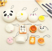 MD Group Squishy Kawaii Soft Cute Toy Cute Bread Bun Phone Key Chain Charms With Rope 12Pcs