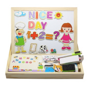 Homgaty Wooden Writing Board Character Letters Numbers Magnetic Puzzle Educational Toys Gift