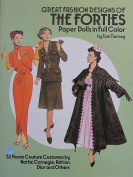 Tom Tierney GREAT FASHION DESIGNS of The FORTIES PAPER DOLLS Book (UNCUT) in Full colour w 2 Card Stock DOLLS & 32 Haute Couture COSTUMES