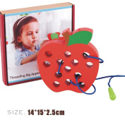 Apple Toy,Big Wooden Worm Eat Apple Children's Cater Apple Threading Educational Toys Gift By Dacawin