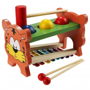 Funmily 2 in 0.5kg and Tap Bench with Slide Out Xylophone Wooden Music Toy for Kids